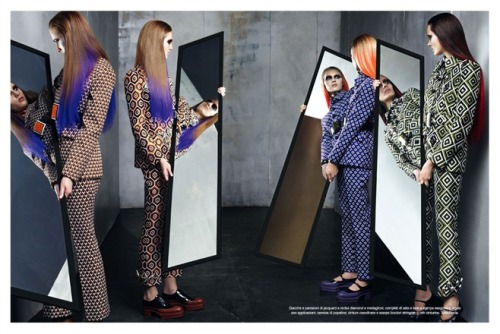 Prada fall 2012 by Steven Meisel on Vogue Italia July 2012.