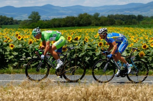 Peter Sagan of Slovakia riding for Liquigas-Cannondale and Andriy Grivko of the Ukraine riding for Astana breakaway from the peloton early in stage ten of the 2012 Tour de France from Macon to Bellegarde-Sur-Valserine on July 11, 2012 in Macon, France. (via Photo from Getty Images)