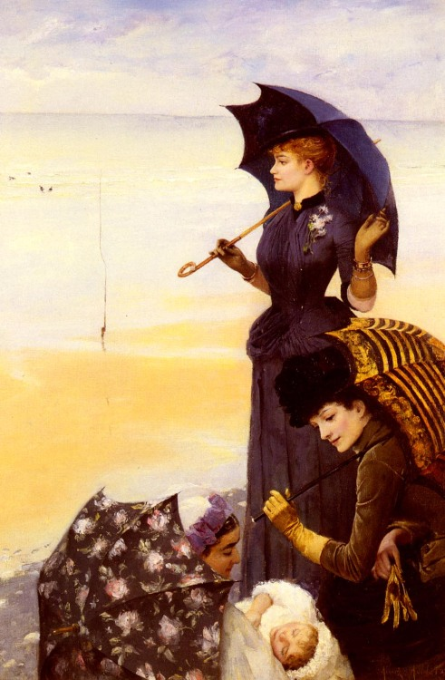colourthysoul:  Albert Aublet - On the beach, Treport (1887)