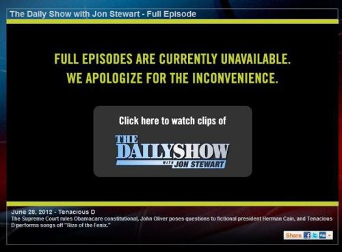 "timesunion:  Like streaming videos online, such as Comedy Central's ""Daily Show""? Well, the fight between Viacom (which owns Comedy Central) and DirecTV has prompted Viacom to temporarily suspend some of its online videos. So we are all being punished in this dispute. http://bit.ly/NjL8Hb — Michael J. http://on.fb.me/LbO0Bq  Worth pointing out, though, that one of Viacom's ways of attacking DirecTV, a Pop Up Video mocking a statement by DirecTV's CEO, no longer works; it was taken private last night. A deal in the works? EDIT: As pointed out by a commenter, someone else threw up the video here."
