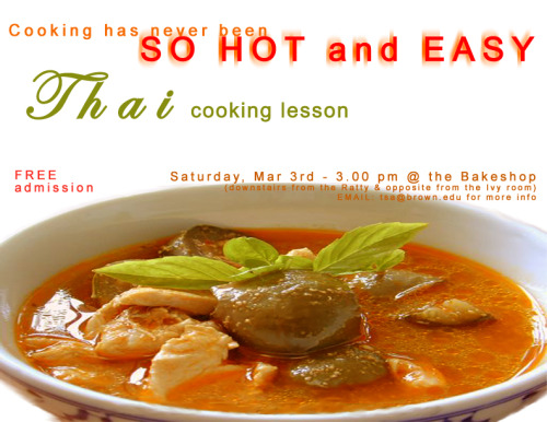 This was another fun project. We designed posters to promote cooking lessons organized by the Thai Students Association at Brown University in 2001. We wanted the posters to convey that there would be a great deal of fun and delicious food. Also, since our posters would be pinned on boards all over campus alongside gazillions of other posters, we used vivid, eye-catching colors to make ours stand out. The turnout was greater than anticipated. The participants seemed to really enjoy themselves. And we TSA members had a blast! Here, as a bonus, are also some photos from the event.