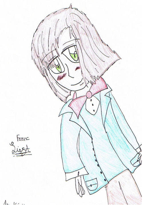 "I drew this when my art style was this kawaii-desu anime style… Why…;A;  This pose might as well be a hidden move in that Hare Hare Yukai dance (are people still doing that?), as often as it's used in desu pictures. The ""lean really far but don't actually fall."""
