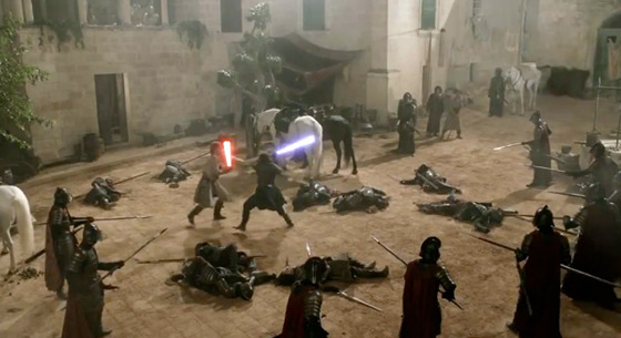 Game of Thrones Lightsaber Battle [Video]
