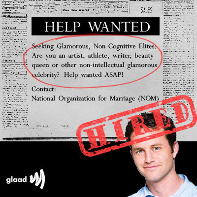 "glaad:  Looks like NOM has found the ""non-cognitive elite"" it was looking for to push its radical anti-gay agenda! Share the news! http://www.glaad.org/blog/nom-kirk-cameron-youre-hired  NON-COGNITIVE NON-INTELLECTUAL ARE YOU FUCKING KIDDING ME? THIS IS WHY INDIA IS SHITTING OUT DOCTORS."