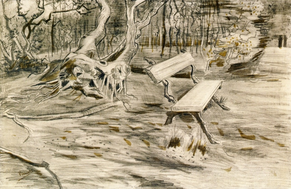 iamjapanese: Vincent van Gogh, The Bench 1882. Pencil, pen and brown ink on paper