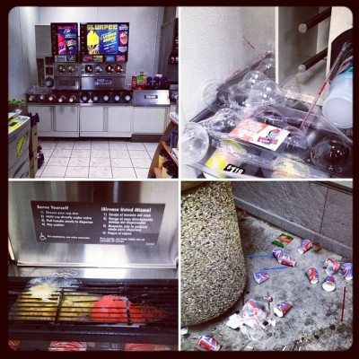 Free Slurpee Day Aftermath #slurpee #711 #summer #july #iphoneonly #4s #mess #gross #delicious #cold #ice  (Taken with Instagram at Your local 7-11)