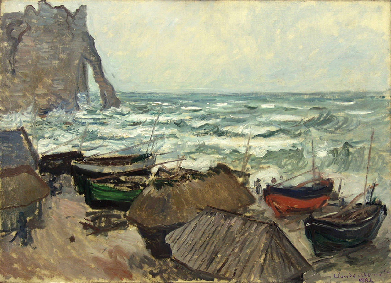 Fishing Boats on the Beach at Étretat, 1883-84 by Claude Monet