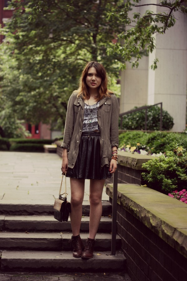 Tank - Volcom, Cargo Jacket - White + Warren, Skirt - Everlayne, Boots - Frye, Bag - Rebecca Minkoff