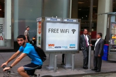 "smartercities:  New York starts turning payphones into free Wi-fi hotspots The hotspots are initially coming to ten payphones in three of the boroughs and will be open to the public to access for free. You can see a list of sites here. Users just agree to the terms, visit the city's tourism website and then they're up and running. Currently, there are no ads on the service, but there could be in the future. The effort is part of the city's larger goal of providing more digital inclusion for residents. And it's also aimed at helping figure out the future of the city's payphones, which are a source of complaints from many residents because they attract crime or are just plain ugly. The payphones have been outfitted with ""military grade"" antennas, that provide service up to 300 feet away. The $2,000 installation is being provided for free by Van Wagner Communications, which owns many of the city's payphones. The plan is to eventually spread the Wi-Fi hotspots to more of the city's 13,000 payphones with the maintenance and ongoing costs paid by the payphone companies. D'oh!    here's a great idea."