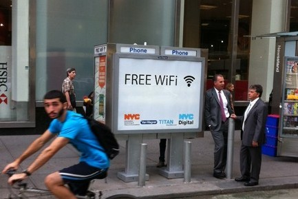 "poptech:  New York starts turning payphones into free Wi-fi hotspots  The hotspots are initially coming to ten payphones in three of the boroughs and will be open to the public to access for free. You can see a list of sites here. Users just agree to the terms, visit the city's tourism website and then they're up and running. Currently, there are no ads on the service, but there could be in the future. The effort is part of the city's larger goal of providing more digital inclusion for residents. And it's also aimed at helping figure out the future of the city's payphones, which are a source of complaints from many residents because they attract crime or are just plain ugly. The payphones have been outfitted with ""military grade"" antennas, that provide service up to 300 feet away. The $2,000 installation is being provided for free by Van Wagner Communications, which owns many of the city's payphones. The plan is to eventually spread the Wi-Fi hotspots to more of the city's 13,000 payphones with the maintenance and ongoing costs paid by the payphone companies."
