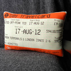 rainbowrowell:  dtraveljournal:  Take a ticket stub or plane ticket or whatever to kinkos, have them blow it up, print it on that fabric transfer stuff and make this pillow.