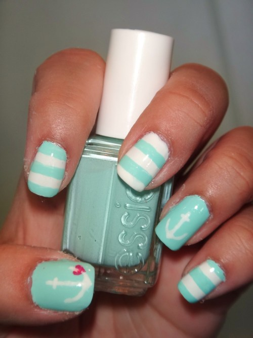 Nautical Themed using Essie's Mint Candy Apple.Enjoy! :)