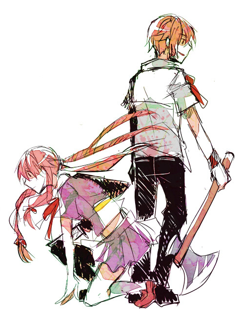 yanderedaily:  Mirai Nikki - Gasai Yuno. Two of them. The colouring in this image is very interesting. This more than compensates for the overall sketchiness - which, indeed, adds to the effect.