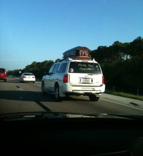 Honk for Grandma in a Coffin on the Roof Keepin' it classy, FSU.