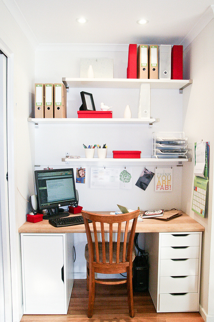 Perfect sized workspace nook fully outfitted with everything one needs for a productive day.