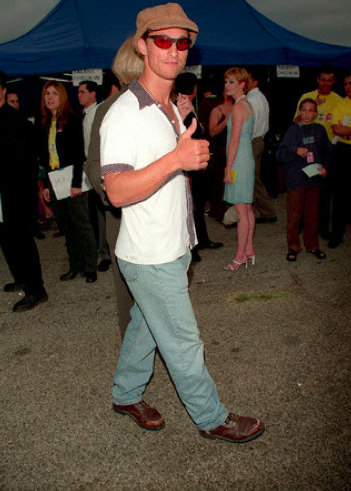 Celebrate Thumbs Up Thursday with Matthew McConaughey, his sweet late 90s rave-kid sun glasses and his floppy little hat at the 1997 MTV Movie Awards.