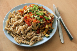 gaintheirjealousy:  Whole grain pasta with vegetables (tomato, eggplant, zucchini, bell pepper, mushrooms, garlic and onion) for dinner