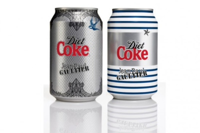 Diet Coke by Jean Paul Gaultier: The Night & Day Cans  This is the first time in the brand's history that a design collaboration has translated onto the 330ml cans. The 'Night' can has a rock theme that immortalizes Jean Paul Gaultier's corset and iconic cone bra design. While the 'Day' can is inspired by Jean Paul Gaultier's signature Breton stripes and captures his fun attitude. The cans will be made available across Europe at select retailers from July – September 2012.