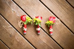 Shotgun shell wedding boutonnieres