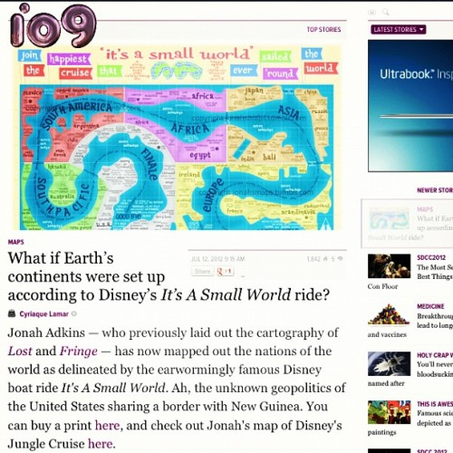 Awesome! @io9 featured my @esri map of It's A Small World (Taken with Instagram)