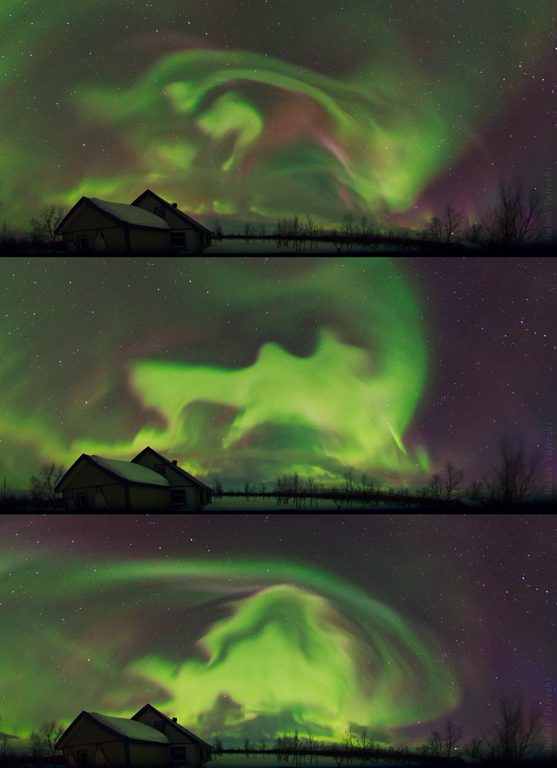 ikenbot:  Dancing Spirits  Magical lights of Aurora Borealis appear over a traditional Sami village in Lapland, northern Sweden. The scenes of the sequence are each 2 minutes apart. The photos are panoramic projection of a fisheye lens, covering a large area of the sky.