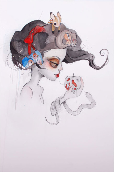 a-harlots-progress:  Tatiana Suarez Branca Graphite / watercolor on paper2011