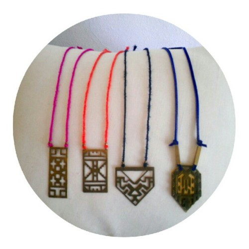 New @iswasandwillbe hand cut metal and silk necklaces now in the shop.  (Taken with Instagram at sword+fern)