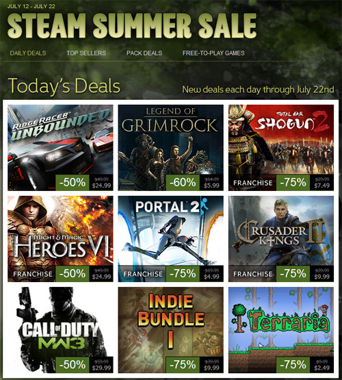Steam Summer Sale - July 12-22 The 2012 Steam Summer sale has kicked off with tons of sales on individual games and packs. Big hitters include Portal 2 for $5.00 (75% off), Call of Duty: Modern Warfare 3 for $29.99 (50% off), Terraria for $2.49 (75% off), and the Sega Hit Collection for $49.99 (88% off).