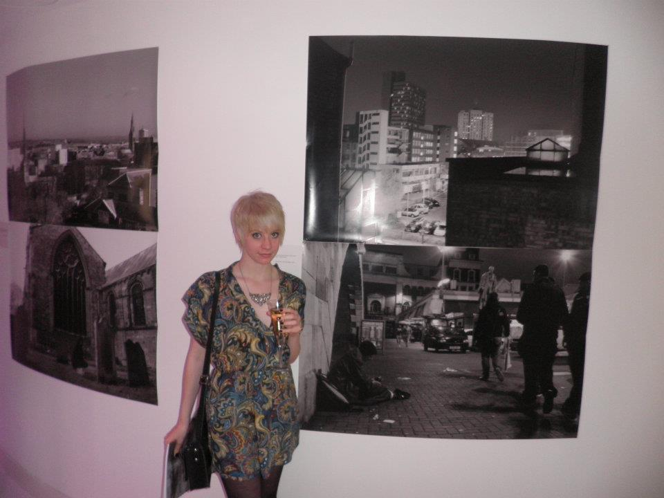"Another photograph of me and my work up at ""Inside Out"" exhibition in Golden Square, London. Pieces ""Cities & The Dead 2"" and ""Thin Cities 2""."