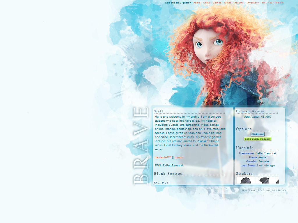 Free User Profile for Subeta.net Featuring Merida from Pixar's Brave.2 Columns. Get it here.