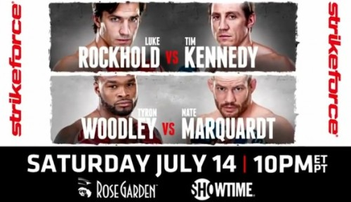 Strikeforce: Kennedy vs. Rockhold Hey Strikeforce, this is the second time in a row that I'm hearing about your event a couple of days before it happens. Maybe you should be promoting a little more. Anyway, the card will feature Luke Rockhold vs. Tim Kennedy for the MW title, Nate Mardquart vs. Tyron Woodly for the WW title, Keith Jardine vs. Roger Gracie, Loreenz Larkin vs. Robbie Lawlor, Jorge Masvidal vs. Justin Wilcox, Jordan Mein vs. Tyler Stinson, Jason High vs. Nate Moore, and Ryan Couture vs. Joe Duarte.