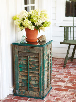 DIY Side Table- How to Build a Shutter Side Table: Give weathered shutters new life as a side table or plant stand. Follow our step-by-step instructions.Read more: DIY Side Table - How to Build a Shutter Side Table - Good Housekeeping