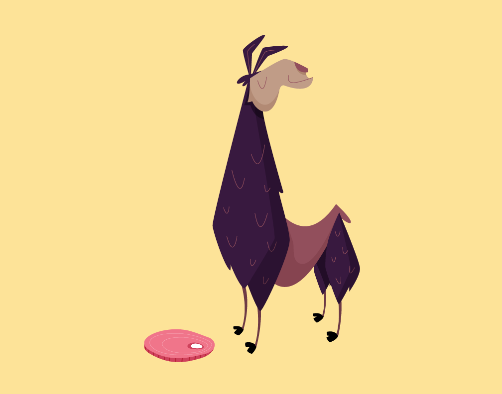 I illustrated Tina the Llama for a JavaScript app @mediahack is making. Eat your ham you fat lard.