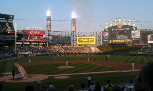 See BruleLaker's great 5 star view. He sat a few rows up from home plate, along the first base line, at U.S. Cellular field while Peavy pitched. The White Sox won that night 4-2. (via U.S. Cellular Field section 129 row 19 seat 1 - Chicago White Sox vs Toronto Blue Jays shared by brulelaker)