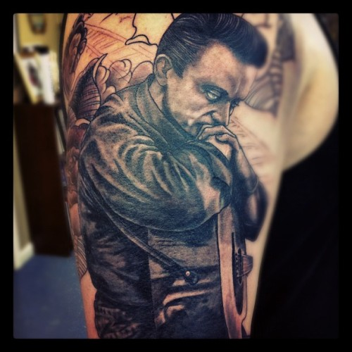 Hello@my name is Johnny Cash- more work on Chucks C&W sleeve! #tattoo #oliverjerrold #blackandgrey #portrait #Johnnycash #hopeandglory #sleeve  (Taken with Instagram)