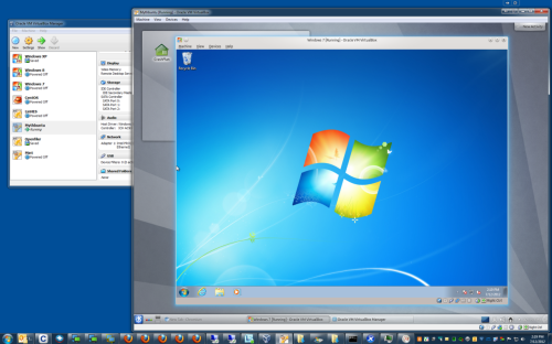 I call this WINCEPTION.  That's a native Windows 7 host running a Virtualbox Linux guest, which is running a Virtualbox Windows 7 guest.  I tried going deeper but the fourth-level VM REALLY didn't like that.  And yes, while I wouldn't call it exactly snappy, the Windows-within-Linux-within-Windows is surprisingly usable.