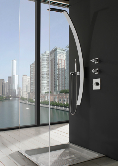 "surplus-mag:  Luna Shower Remodeling your bathroom? Check out the Luna shower and faucet. The striking design and polished chrome finish will easily upgrade your bathroom from ""standard"" to ""impressive""."