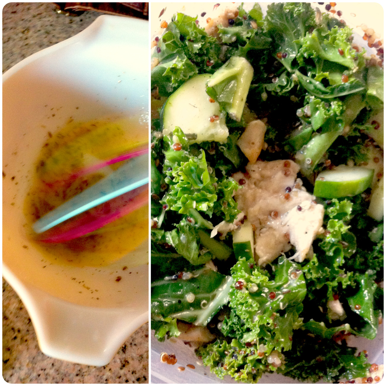 Today's lunch: kale, tri-color quinoa, leftover chicken, almonds and cucumbers in a lemon dressing. Here's how I made the quick dressing: squeeze the juice of half a lemon into a bowl; drizzle in some olive oil, add a sprinkle of dried herbs de Provence, some salt, pepper and flax seeds; whisk it all to hell; add a bit of water to thin it out if necessary; whisk again and pour over the salad. I put my salad in a plastic container and shook it very hard; the flavors marinated while I was at work and were just right when it was time for a late lunch. The kale's bitterness was tamed at that point, too. This was so satisfying and full of healthy nutrients…but also very flavorful. I was a little bummed when it was gone. The rare buds of lavender were a nice, sweet-tasting touch.