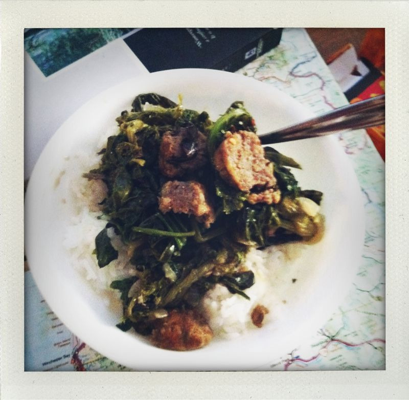 sausage and mixed braising greens that i got at the farmer's market