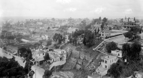 Circa 1900 view of Bunker Hill, downtown L.A.'s lost neighborhood. The view looks west from the county courthouse atop Poundcake Hill. Broadway is visible in the bottom-left, and at the far right stands the Crocker mansion at the corner of Hill and Court streets. In the 1950s and '60s, a redevelopment project cleared Bunker Hill of its streets and buildings and altered the physical topography of the neighborhood. Learn more about Bunker Hill's development and eventual demise with L.A. as Subject's latest KCET contribution.
