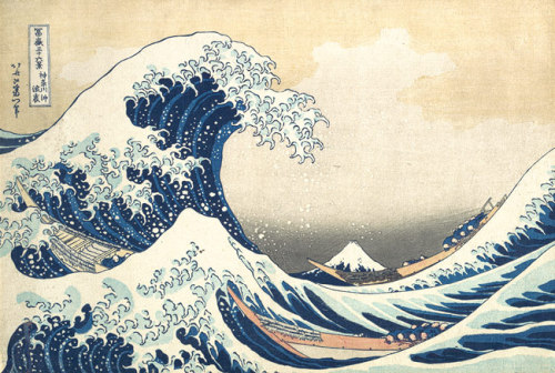 deaddonut:  The Great Wave at Kanagawa by Hokusai, circa 1831-1833.