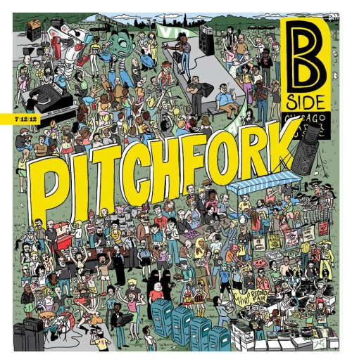 pitchfork:  The Chicago Reader's Jason Wyatt Frederick drew a Where's Waldo-type illustration to celebrate this weekend's Pitchfork Festival featuring everyone from Japandroids to R. Kelly to our own Ryan Schreiber. Pretty awesome.