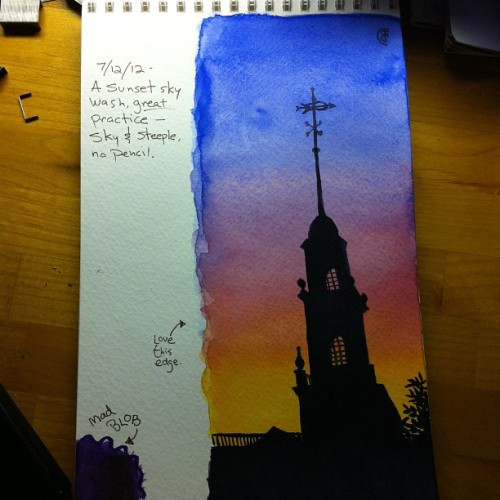 jancolors:  #watercolour journal today. I haven't been blogging about my paintings because I am preparing for a solo art show Aug 3.  (Taken with Instagram at Art Studio)