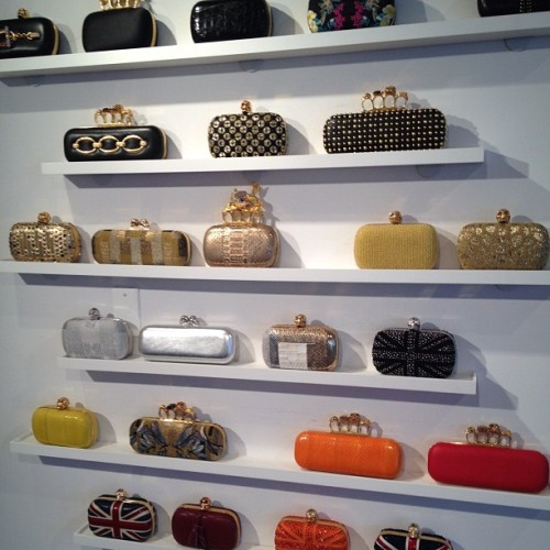 officialstyledotcom:  A dreamy wall of clutches @worldmcqueen. ML (Taken with Instagram)