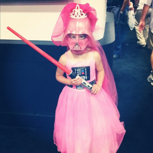 kellyqehudson:  uncannybrettwhite:  pizza-party:  Princess Vader at the @darkhorsecomics booth. #sdcc (Taken with Instagram)  WINS AT LIFE  Will soon be seen in Pat Baer's 404ing It show.  Oh yeah, next time I do a cool kid or cosplay segment, Princess Vader will make an appearance.