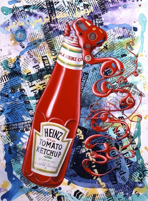 """Ketchup"" by artist Kenny ScharfOil, Acrylic, Silkscreen Ink & Objects On Linen40 X 30 Inches (2006)"