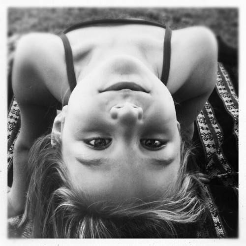 Sun Bathing Beauty #monochrome #blackandwhite #hipstamatic #foxylens #children #portrait (Taken with Instagram)