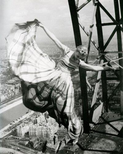 Erwin Blumenfeld: Lisa Fonssagrives on the Eiffel Tower, for Vogue 1939.
