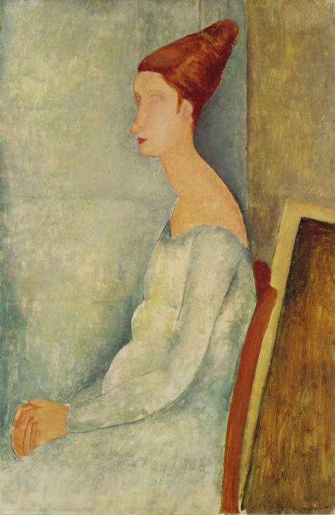 Modigliani was married to Jeanne Hébuterne, a model and an artist in her own right. Hébuterne killed herself the day after Modigliani's premature death from tuberculosis in January 1920… Above: Portrait de Jeanne Hébuterne, 1918 - oil on canvas (Barnes Foundation)