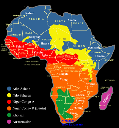 espritfollet:  howiviewafrica:  Map showing the distribution of African language families and some major African languages.  FYI if you don't know this, when the colonial idiots arbitrarily created new borders for colonial states, they split up all the ethnic groups. Putting people who can't speak the same language together within one state and splitting up groups between borders is a lovely way to create division and conflict.  I can't guarantee the accuracy of the map but regardless, the point still stands.